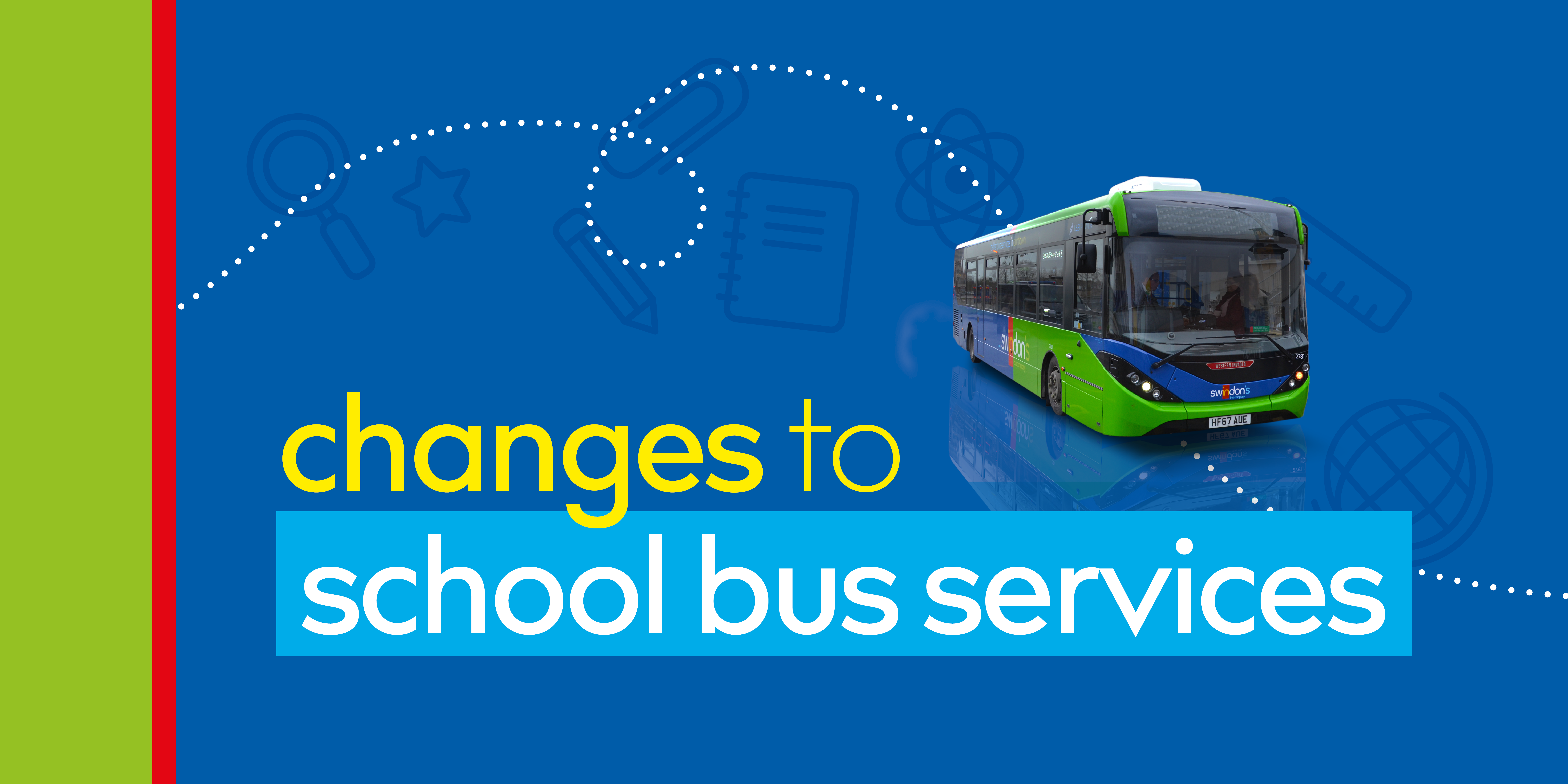 A promotional image for changes to school bus services