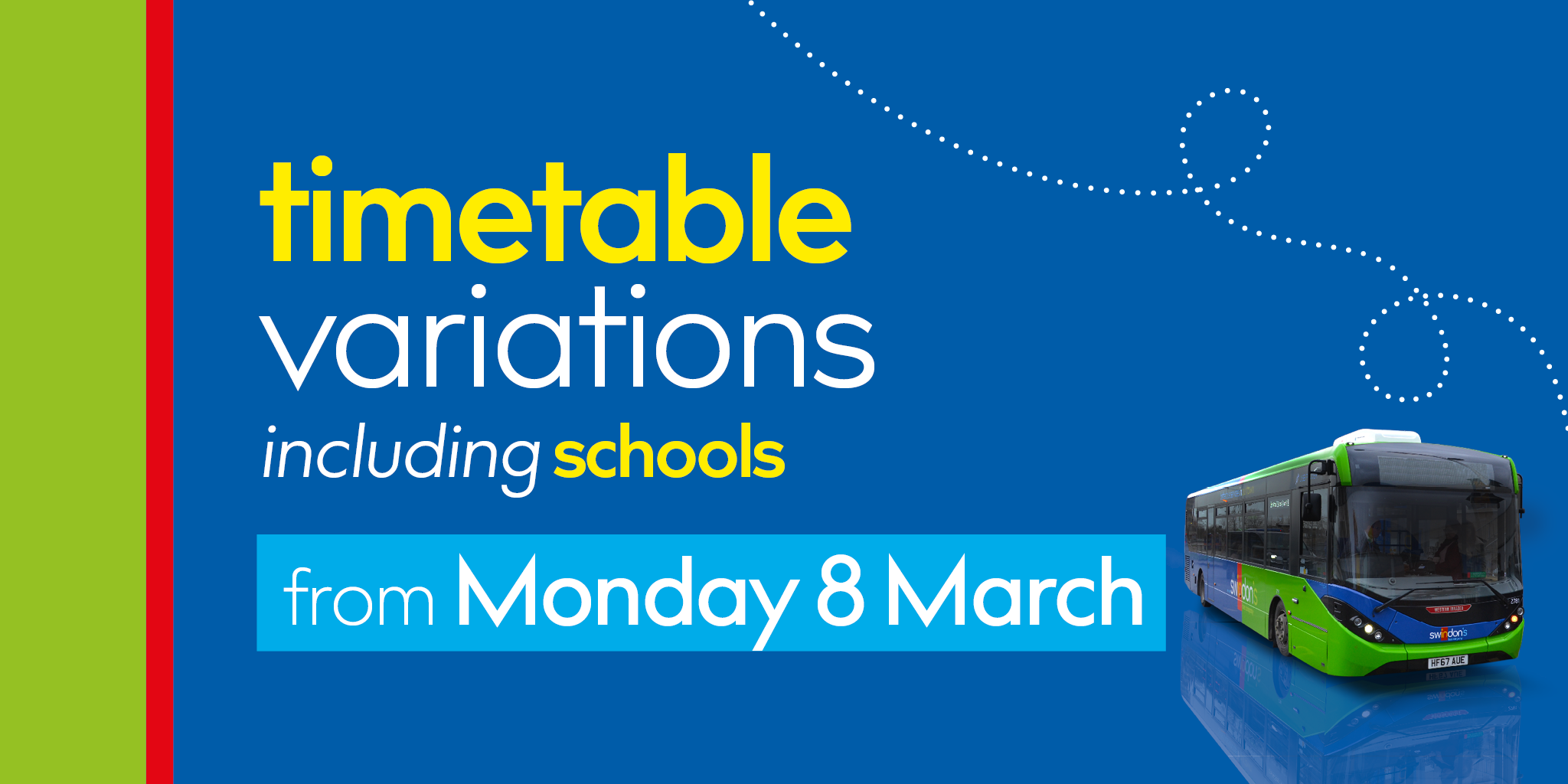 Monday 8 March timetable changes